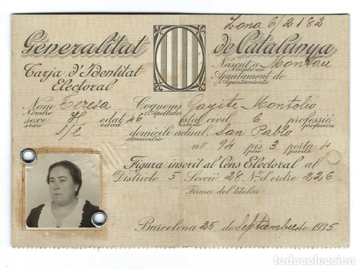 Documentos antiguos: LOTE DE TARJETA ELECTORAL + CÉDULA PERSONAL AYUNTAMIENTO DE BARCELONA. GENERALITAT. (1935 Y 1942) - Foto 3 - 263189585