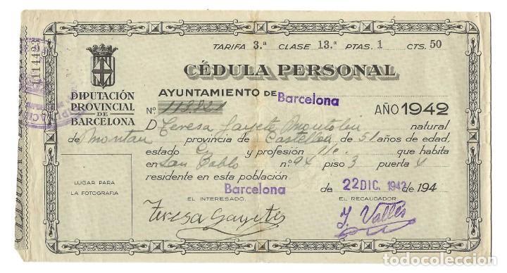 Documentos antiguos: LOTE DE TARJETA ELECTORAL + CÉDULA PERSONAL AYUNTAMIENTO DE BARCELONA. GENERALITAT. (1935 Y 1942) - Foto 4 - 263189585
