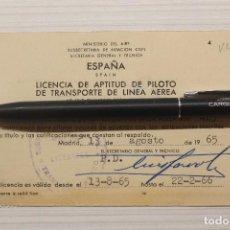 Documentos antiguos: AVIACIÓN, LICENCIA DE APTITUD DE PILOTO 1965-1966. Lote 263570455
