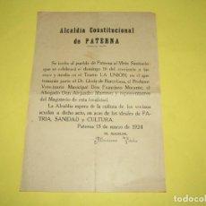 Documentos antiguos: ANTIGUO CARTEL MITIN SANITARIO DE ALCALDÍA CONSTITUCIONAL DE PATERNA DE MARIANO VERDÚ DEL AÑO 1924. Lote 263652880
