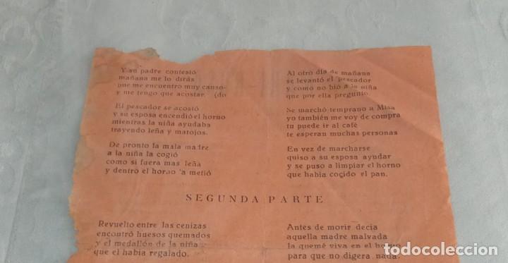 Documentos antiguos: Antiguo pliego de cordel o romance de mercado. Mari Rosa, la niña quemada viva por su madre. - Foto 2 - 264031135