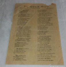 Documentos antiguos: ANTIGUO PLIEGO DE CORDEL O ROMANCE DE MERCADO. EL BUEN HIJO. MÚSICA DE ROCÍA. LETRA F. MARTÍNEZ... Lote 264035455