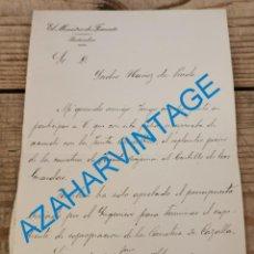 Documentos antiguos: MADRID, 1896, CARTA MANUSCRITA FIRMADA POR EL MINISTRO DE FOMENTO AURELIANO LINARES RIVAS. Lote 265131624