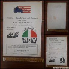 Documentos antiguos: 1ER RALLYE RALLY REGULARIDAD DEL MARESME GRAN TROFEO ESCUDERÍA J.J.-AGV MOTO CLUB CORBERA JUNY 1978. Lote 265397409
