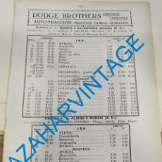 Documentos antiguos: 1930, LINEAS DE AUTOBUSES DE MURCIA Y SU PROVINCIA, HORARIOS Y PRECIOS, 12 PAGINAS. Lote 265501859