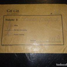 Documentos antiguos: 10 SOBRES DE SALARIO DE GIL GIL DE VILLAREAL. Lote 265854714
