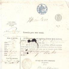 Documentos antiguos: LICENCIA PARA USAR ARMAS. CLASE GENERAL PARA TODOS LOS PUEBLOS DEL REINO. AÑO 1861. Lote 267007109