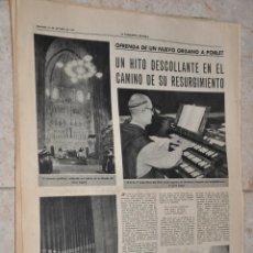Documentos antiguos: HOJA PERIODICO LA VANGUARDIA AÑO 1961, OFRENDA NUEVO ORGANO A POBLET, TARRAGONA. Lote 267194999