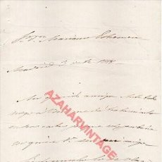 Documenti antichi: 1858, CARTA MANUSCRITA FIRMA ORIGINAL FRANCISCO SERRANO Y DOMINGUEZ, CAPITAN GENERAL CUBA. Lote 268753179