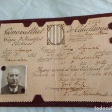 Documentos antiguos: ANTIGUO CARNET ELECTORAL.GENERALITAT CATALUNYA.REPUBLICA.JOSEP PUIG LECATI.MATARO 1935. Lote 268901234