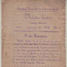 Documentos antiguos: DIPTICO BOLETIN ESCOLAR ESCUELAS NACIONALES DE S. LORENZO SAVALL 1923 ESCUELA COLEGIO. Lote 268994429