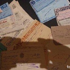 Documentos antiguos: LOTE DE MUCHOS PAPELES DE CONTIBUCION TERRITORIAL DE MUY DIVERSOS AÑOS Y TIPOS , LEER DESCRIPCION. Lote 269004469