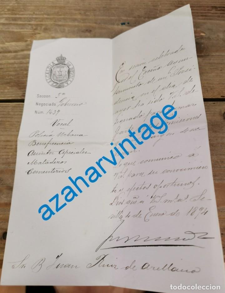SEVILLA, 1894, NOMBRAMIENTO VOCAL COMISIONES AYUNTAMIENTO, JUAN RUIZ DE ARELLANO, FIRMA ALCALDE (Coleccionismo - Documentos - Otros documentos)