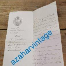 Documentos antiguos: SEVILLA, 1894, NOMBRAMIENTO VOCAL COMISIONES AYUNTAMIENTO, JUAN RUIZ DE ARELLANO, FIRMA ALCALDE. Lote 269190258