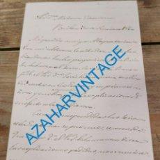 Documentos antiguos: BAILEN, 1860, CARTA SOBRE NUEVA LINEA DE FERROCARRIL. Lote 269190833