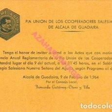 Documentos antiguos: ALCALA DE GUADAIRA, 1964, INVITACION ACTOS PIA UNION, SALESIANOS. Lote 269465598