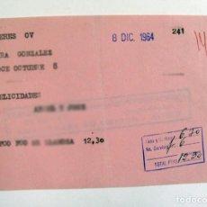 Documentos antiguos: RECIBO DE TELEGRAMA. MIERES. ASTURIAS. 1964. Lote 269731583