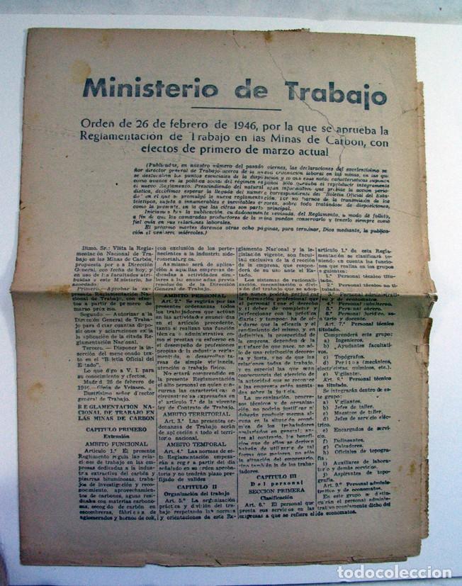 ORDEN DE 1946 REGLAMENTACION DE TRABAJO EN LAS MINAS DE CARBON (Coleccionismo - Documentos - Otros documentos)