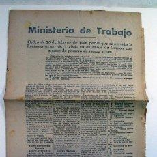 Documentos antiguos: ORDEN DE 1946 REGLAMENTACION DE TRABAJO EN LAS MINAS DE CARBON. Lote 269733033