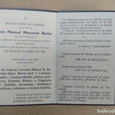 Documentos antigos: ESQUELA DON MANUEL MASCAROS BARBA INGENIERO DE CAMINOS. Lote 270872388