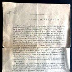 Documentos antiguos: ALCAÑIZ AÑO 1902 / CARTA D. JOSÉ ESPONERA /SOBRE CONFLICTOS ENTRE PROPIETARIOS Y LABRADORES / TERUEL. Lote 270922713