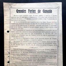 Documentos antiguos: ALCAÑIZ AÑO 1909 / OCTAVILLA PUBLICIDAD / GRANDES FERIAS DE GANADOS / CENTENARIO AÑO 1809 / TERUEL. Lote 270923423