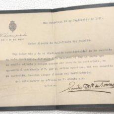 Documentos antiguos: CARTA DE EL SECRETARIO PARTICULAR DEL REY AL ALCALDE DE VILAFRANCA DEL PENEDES 1917.. Lote 271008263