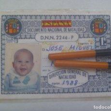 Documentos antiguos: CURIOSO DOCUMENTO NACIONAL DE IDENTIDAD ( DNI ) DE BEBE. SEVILLA, 1988. DE COÑA. Lote 272004248