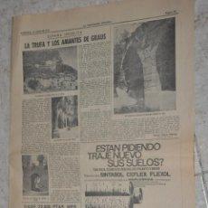 Documents Anciens: HOJA LA VANGUARDIA AÑO 1970, REPORTAJE LA TRUFA Y LOS AMANTES DE GRAUS. Lote 273928538