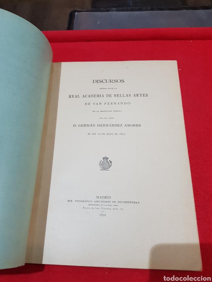 Documentos antiguos: Libreto discurso leído Academia de Bellas Artes de San Fernando Germán Hernández amores 1892 Madrid - Foto 2 - 276667528