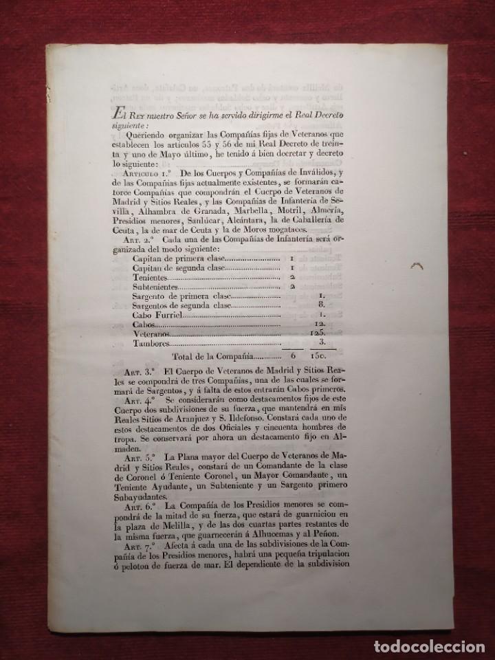 Documentos antiguos: 1829. Documentos. Ejército. Veteranos. - Foto 8 - 276708023