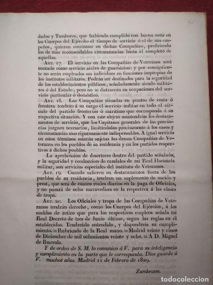 Documentos antiguos: 1829. Documentos. Ejército. Veteranos. - Foto 11 - 276708023