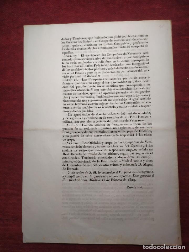 Documentos antiguos: 1829. Documentos. Ejército. Veteranos. - Foto 12 - 276708023