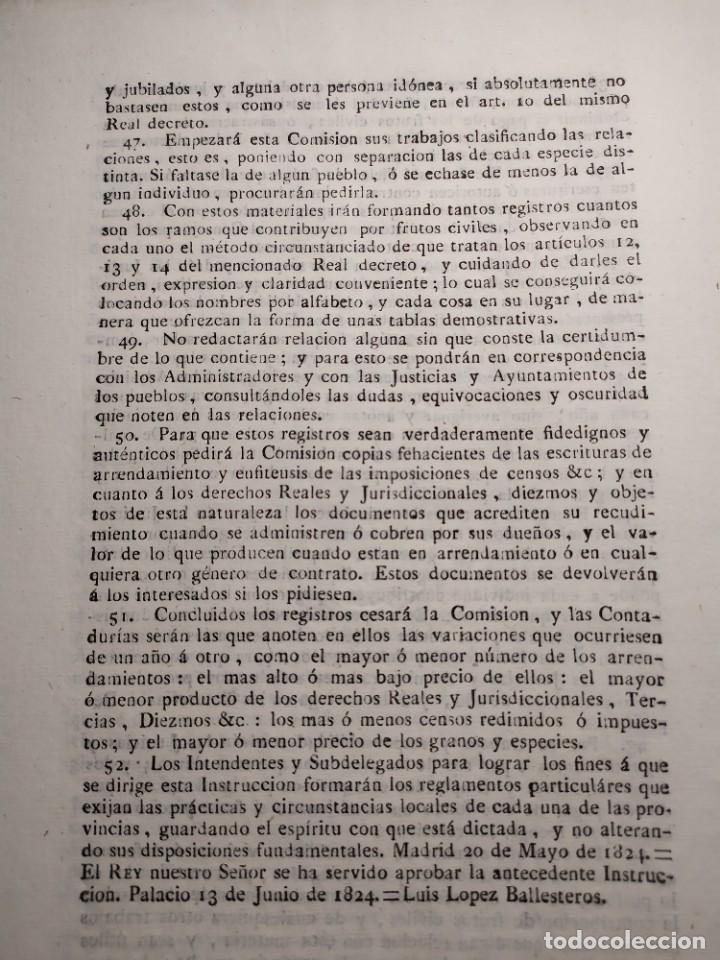 Documentos antiguos: 1824. Documento. Real Decreto. Instrucción. - Foto 5 - 276709238