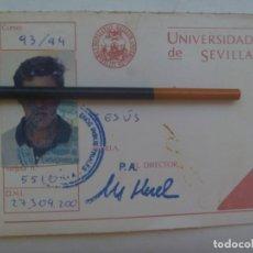 Documentos antiguos: UNIVERSIDAD DE SEVILLA : CARNET DE ESTUDIANTE , INGENIEROS INDUSTRIALES. CURSO 1993/94. Lote 276767438