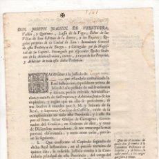 Documents Anciens: COMUNICACION DE REAL INSTRUCCION A LA JUSTICIA DE TIRGO, LA RIOJA, SOBRE ADMINISTRACION DE ARBITRIOS. Lote 277039898