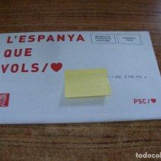 Documentos antiguos: SOBRE CERRADO CAMPAÑA ELECTORAL PSC. Lote 277229908