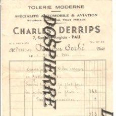 Documentos antiguos: FACTURA-ALBARÁN, CHARLES DERRIPS, PAU-FRANCIA, SPÉCIALITÉ AUTOMOBILE, PARA D. DELOM SORBÉ, AÑO 1943. Lote 277252288