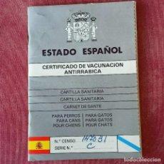 Documentos antiguos: CERTIFICADO VACUNACIÓN ANTIRRÁBICA 1986. Lote 277256283