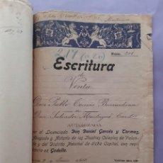 Documentos antiguos: ANTIGUA ESCRITURA VENTA MANUSCRITA AÑO 1913 GODELLA VALENCIA ADJUNTA COMPRA VENTA 1920 1922. Lote 277301733