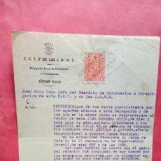 Documentos antiguos: FET Y DE LAS JONS.-FALANGE ESPAÑOLA.-JUAN RUIZ CANO.-JEFE SERVICIO INFORMACION.-JODAR.-AÑO 1940.. Lote 277647853