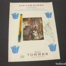 Documentos antiguos: CARTA O MENÚ DEL RESTAURANTE LOS CARACOLES FIRMADO POR BOFARULL. BARCELONA. Lote 278459878
