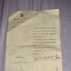 Documentos antiguos: ANTIGUA HOJA DE GABINETE LITERARIO LAS PALMAS DE GRAN CANARIA, FIRMADO POR LUIS DORESTE SILVA 1940. Lote 278930463