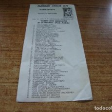Documentos antiguos: PAPELETA ELECCIONES LOCALES CONCEJALES BARCELONA 1979 PARTIT SOCIALISTA DE CATALUNYA. Lote 278932083
