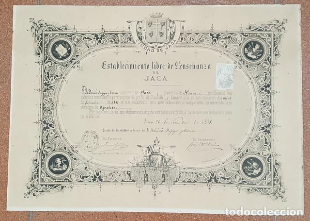 ANTIGUO DIPLOMA TITULO DE BACHILLER ESTABLECIMIENTO LIBRE 2ª ENSEÑANZA DE JACA 1871 ENMARCADO (Coleccionismo - Documentos - Otros documentos)
