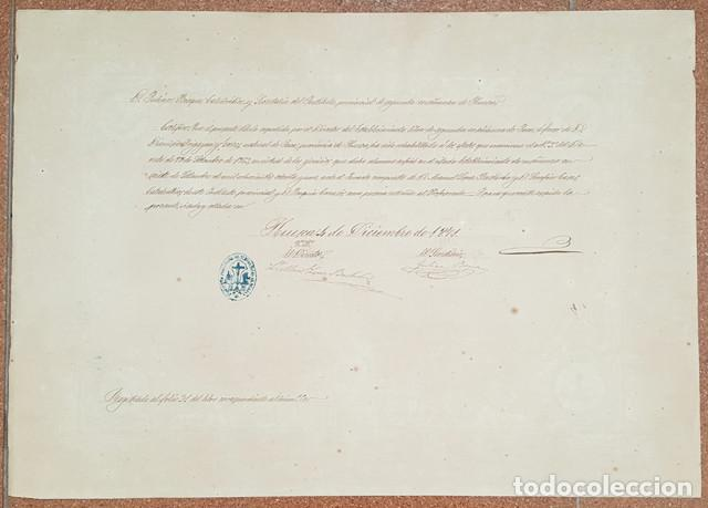 Documentos antiguos: ANTIGUO DIPLOMA TITULO DE BACHILLER ESTABLECIMIENTO LIBRE 2ª ENSEÑANZA DE JACA 1871 ENMARCADO - Foto 2 - 279371348