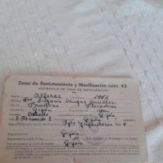 Documentos antiguos: OCTAVILLA ZONA DE RECLUTAMIENTO MOVILIZACIÓN N°42 ,ALFEREZ ,GIJON 1946.. Lote 280586263