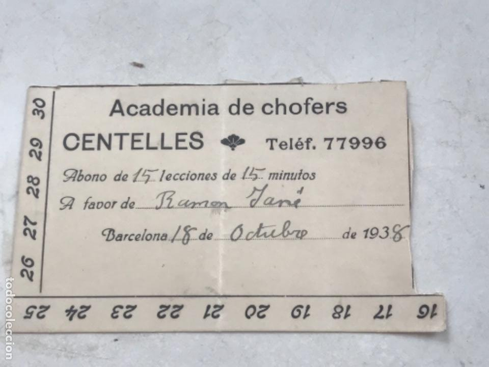 ABONO DE LA ACADEMIA DE CHOFERS DE CENTELLES 1938. (Coleccionismo - Documentos - Otros documentos)