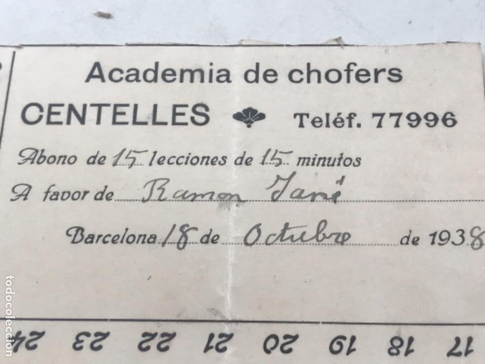 Documentos antiguos: ABONO DE LA ACADEMIA DE CHOFERS DE CENTELLES 1938. - Foto 2 - 280640973