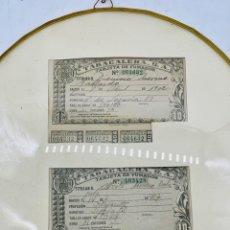 Documentos antiguos: 2 TARJETAS DE FUMADOR , ENMARCADAS Y CON CRISTALES PROTECTORES, 1902 Y 1927. Lote 280841823